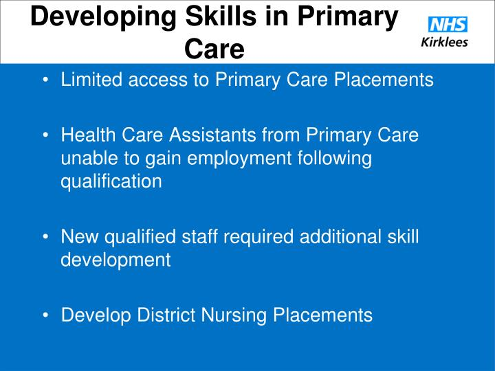 Developing Skills in Primary Care