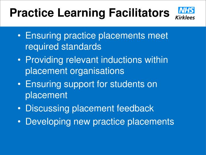 Practice Learning Facilitators
