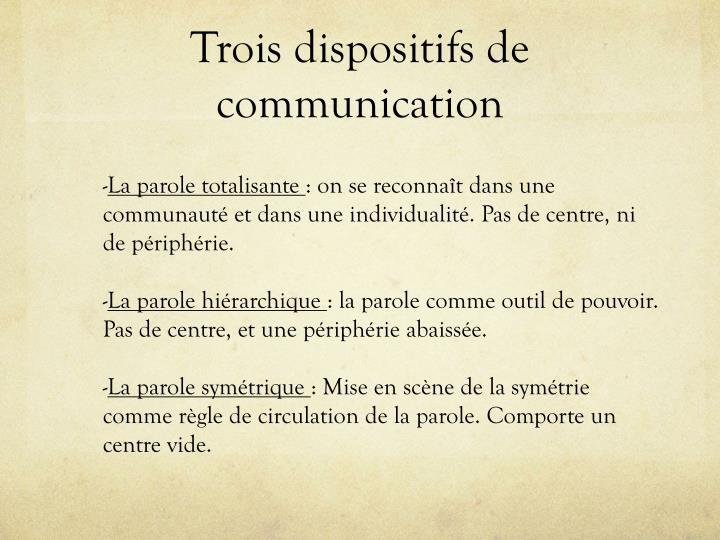 Trois dispositifs de communication