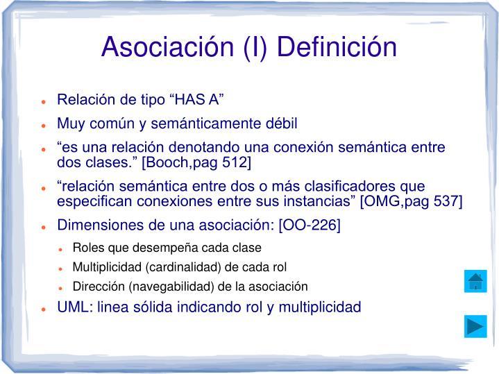Asociación (I) Definición