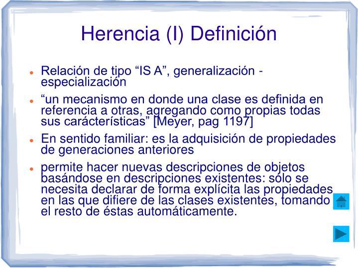 Herencia (I) Definición