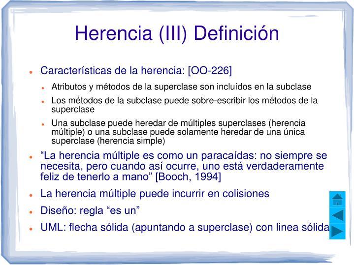 Herencia (III) Definición
