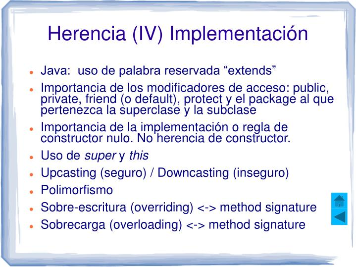 Herencia (IV) Implementación