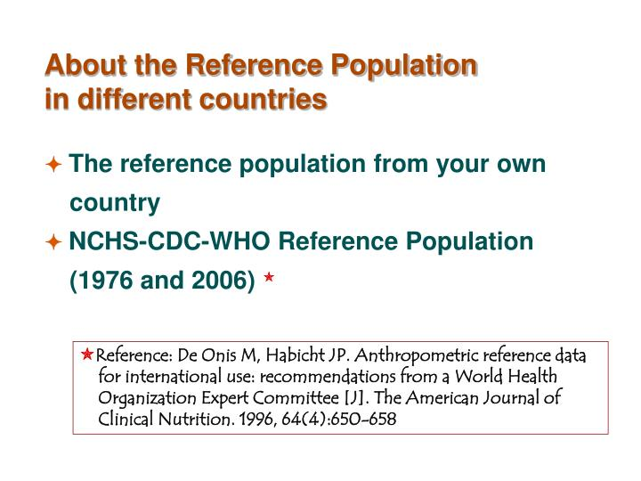 About the Reference Population in different countries