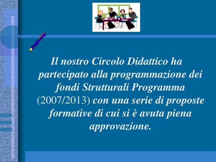 Il nostro Circolo Didattico ha partecipato alla programmazione dei fondi Strutturali Programma