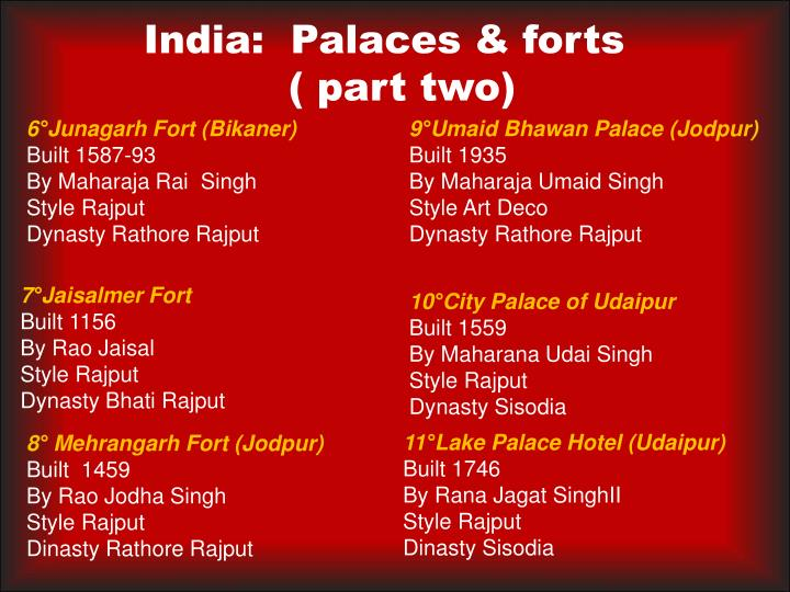 India:  Palaces & forts