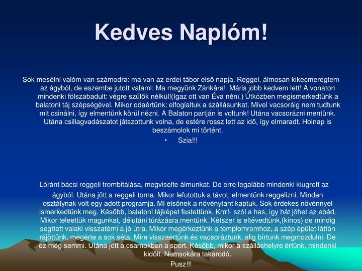 Kedves Naplm!