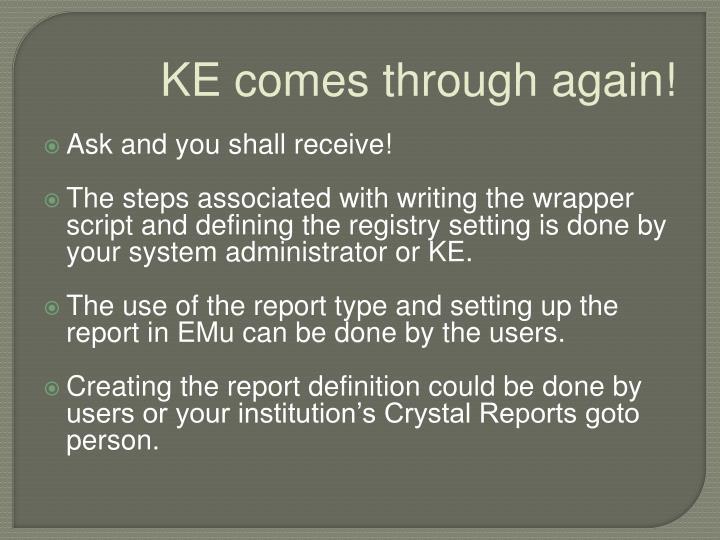 KE comes through again!