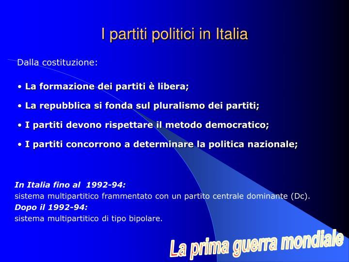 I partiti politici in Italia