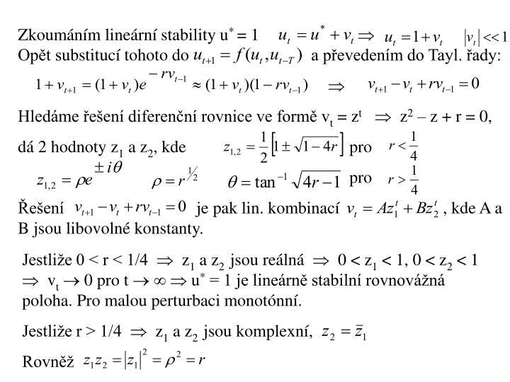 Zkoumáním lineární stability u
