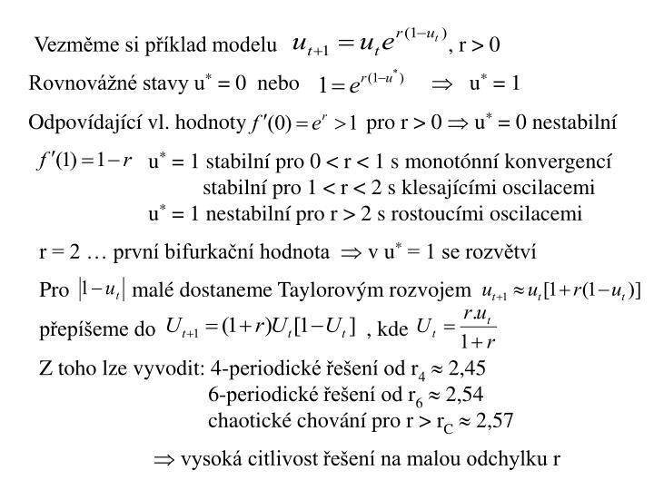 Vezměme si příklad modelu    , r