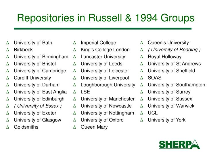 Repositories in Russell & 1994 Groups