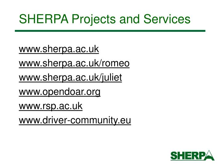 SHERPA Projects and Services