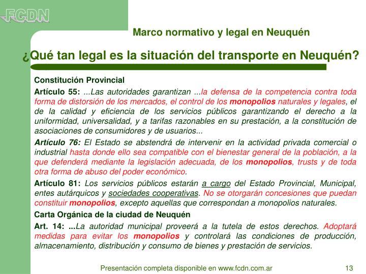 Marco normativo y legal en Neuquén