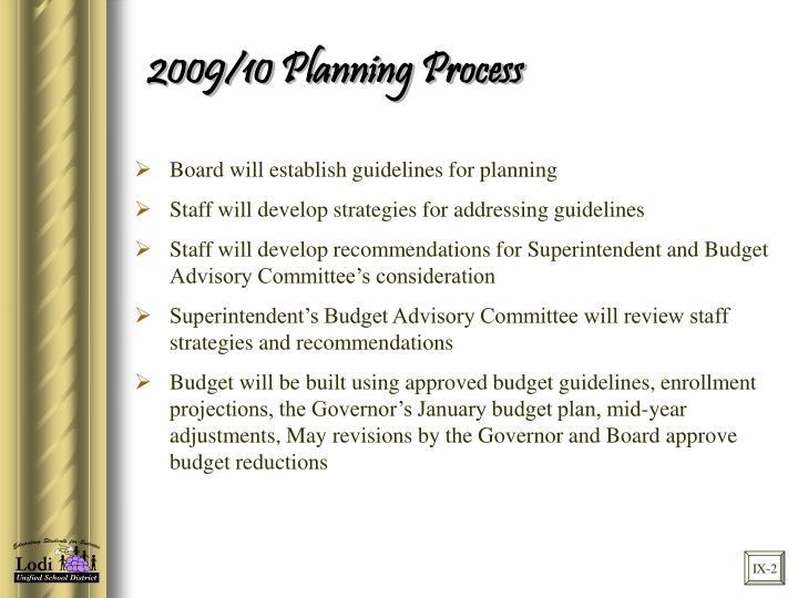 2009/10 Planning Process