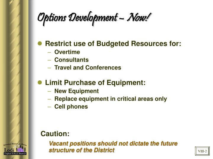 Options Development –