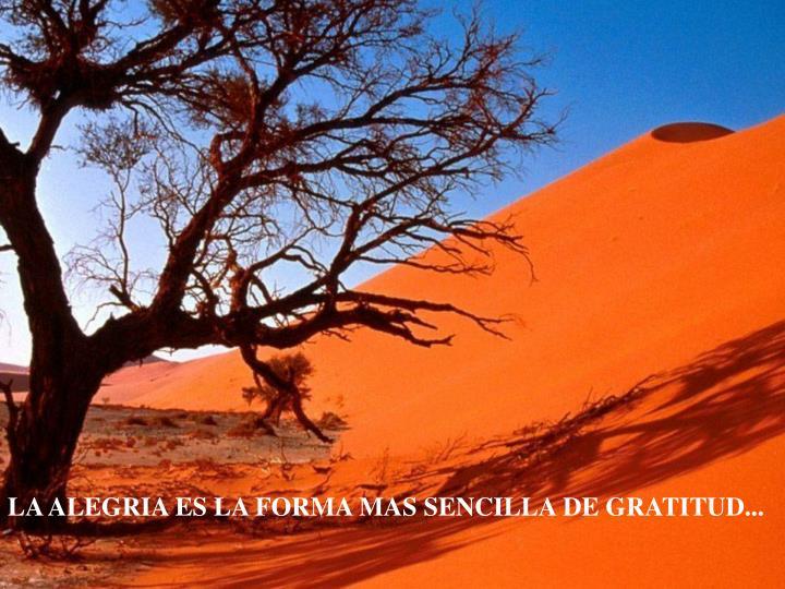 LA ALEGRIA ES LA FORMA MAS SENCILLA DE GRATITUD...