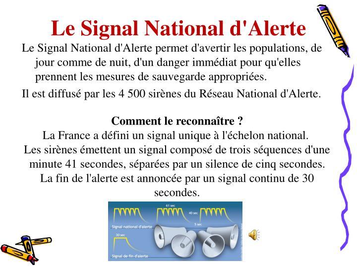 Le Signal National d'Alerte