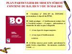 plan particulier de mise en s ret contenu du b o hs n 3 du 30 mai 2002
