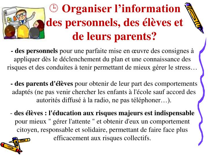 Organiser l'information des personnels, des élèves et de leurs parents?