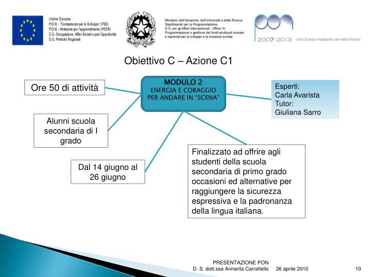 Obiettivo C – Azione C1