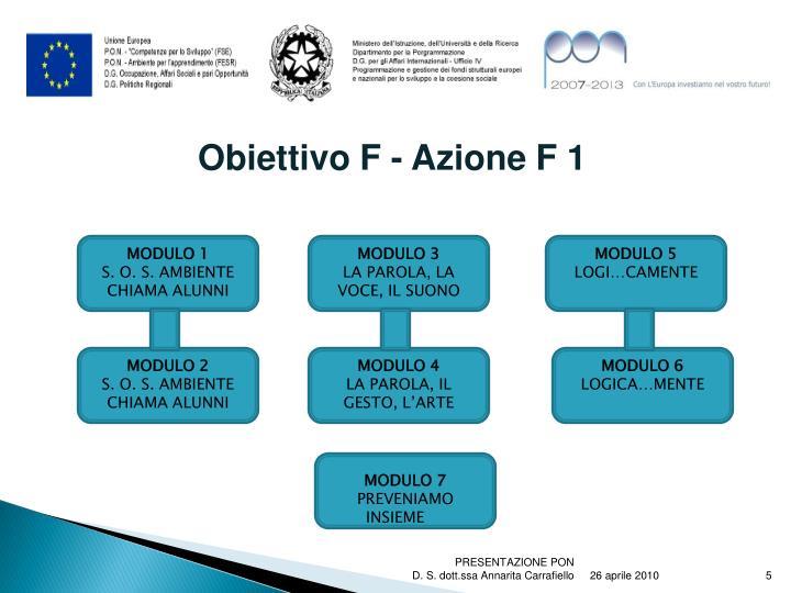 Obiettivo F - Azione F 1