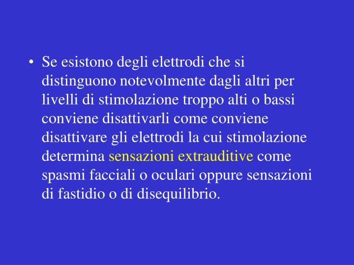 Se esistono degli elettrodi che si distinguono notevolmente dagli altri per livelli di stimolazione troppo alti o bassi conviene disattivarli come conviene disattivare gli elettrodi la cui stimolazione determina