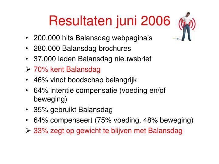 Resultaten juni 2006