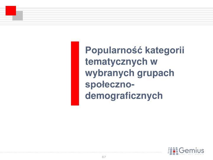 Popularność kategorii tematycznych w wybranych grupach