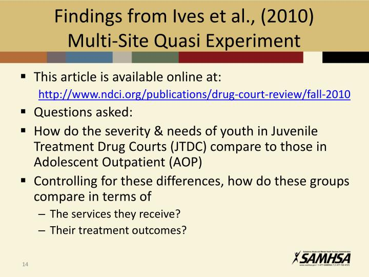 Findings from Ives et al., (2010)