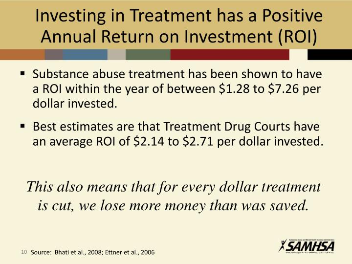 Investing in Treatment has a Positive Annual Return on Investment (ROI)