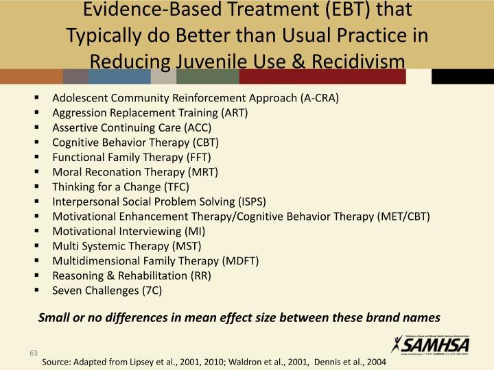 Evidence-Based Treatment (EBT) that