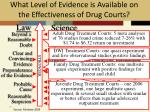 what level of evidence is available on the effectiveness of drug courts1