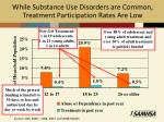 while substance use disorders are common treatment participation rates are low