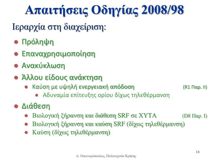 Απαιτήσεις Οδηγίας 2008/98