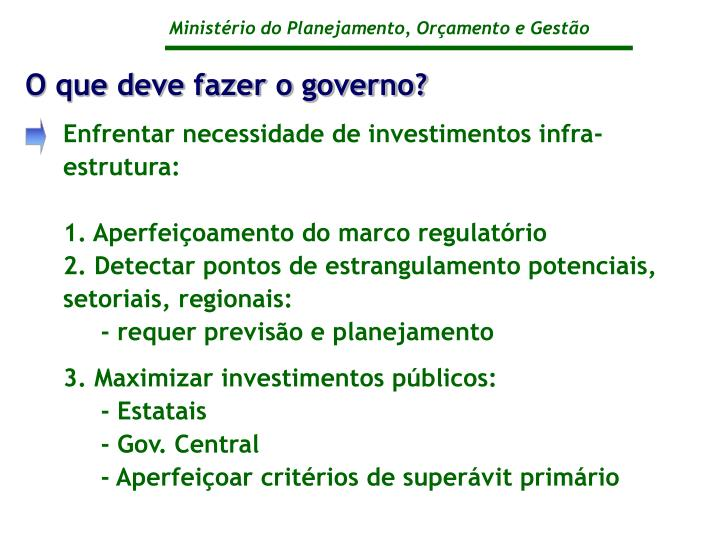 O que deve fazer o governo?