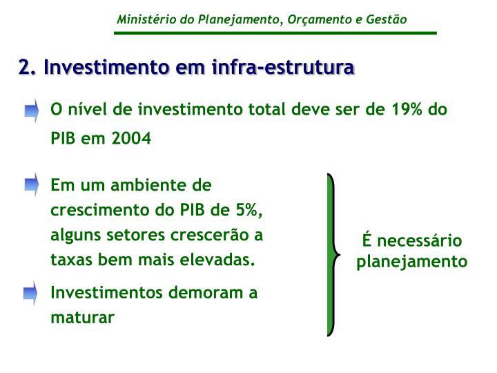 2. Investimento em infra-estrutura
