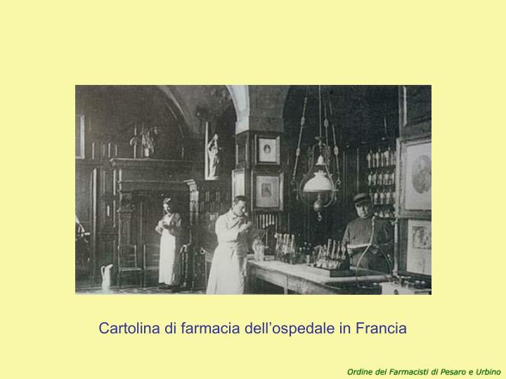 Cartolina di farmacia dell'ospedale in Francia