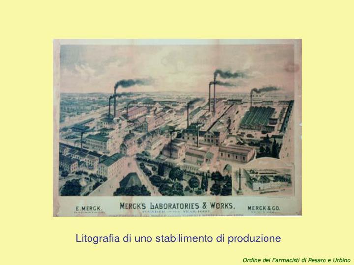 Litografia di uno stabilimento di produzione