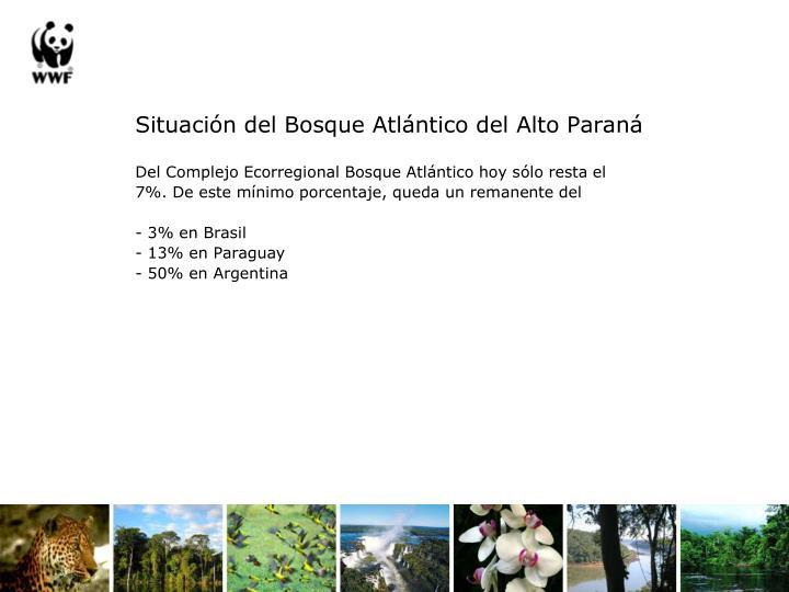 Situación del Bosque Atlántico del Alto Paraná