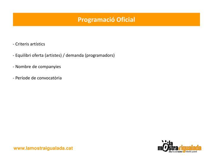 Programació Oficial