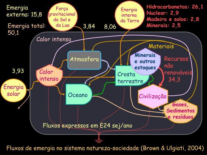 Fluxos de emergia no sistema natureza-sociedade (Brown & Ulgiati, 2004)