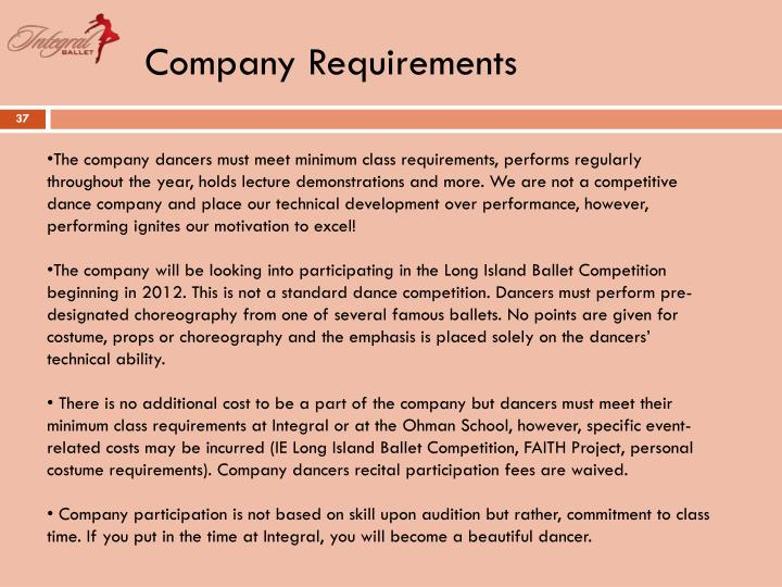Company Requirements