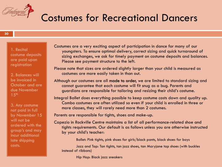 Costumes for Recreational Dancers