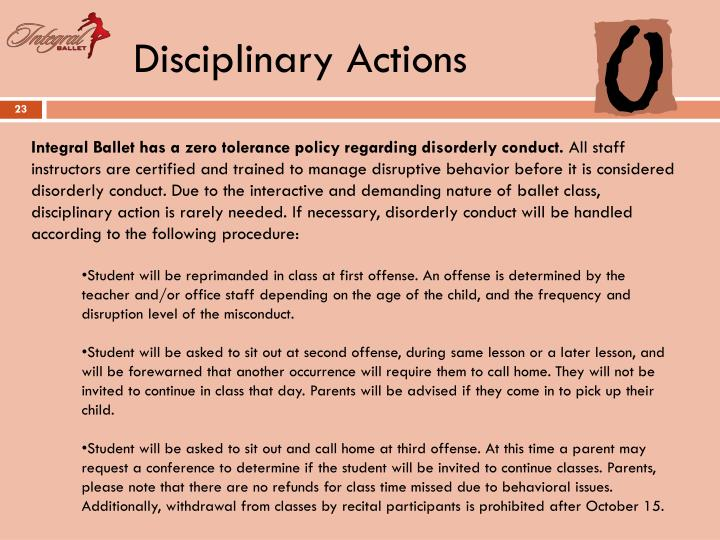 Disciplinary Actions