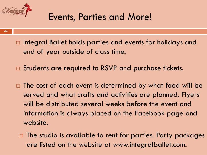 Events, Parties and More!