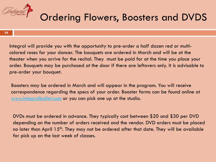 Ordering Flowers, Boosters and DVDS