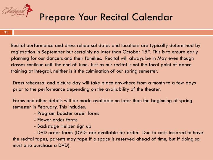 Prepare Your Recital Calendar