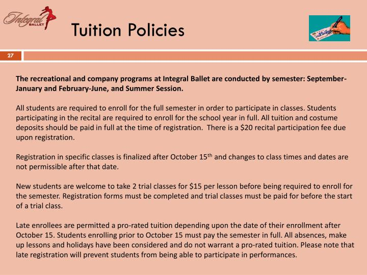 Tuition Policies