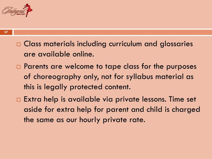Class materials including curriculum and glossaries are available online.